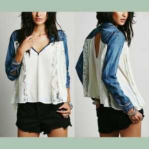 NWT Free People Swing Swing Top Jean/Green Small